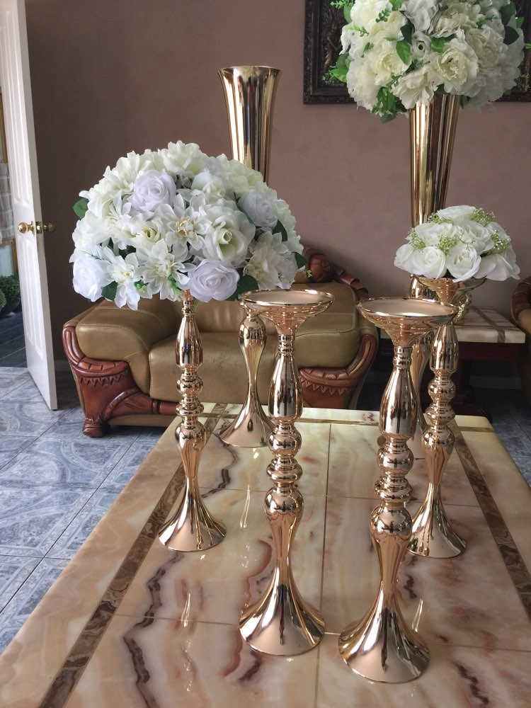 Whole Beautiful 88cm Tall Metal Flower Vase Gold Paited Stand Wedding Centerpiece For Weddings Decoration