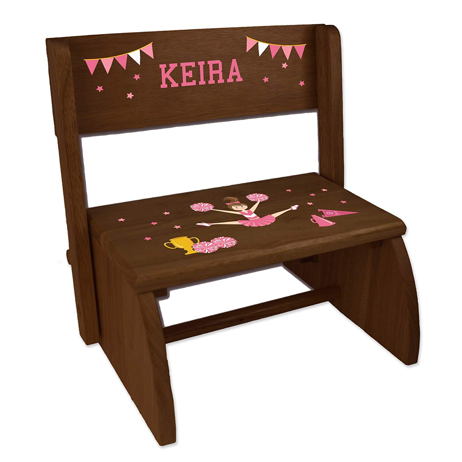 Personalized Cheerleader Brunette Pink Espresso Wooden Folding Stool and Seat
