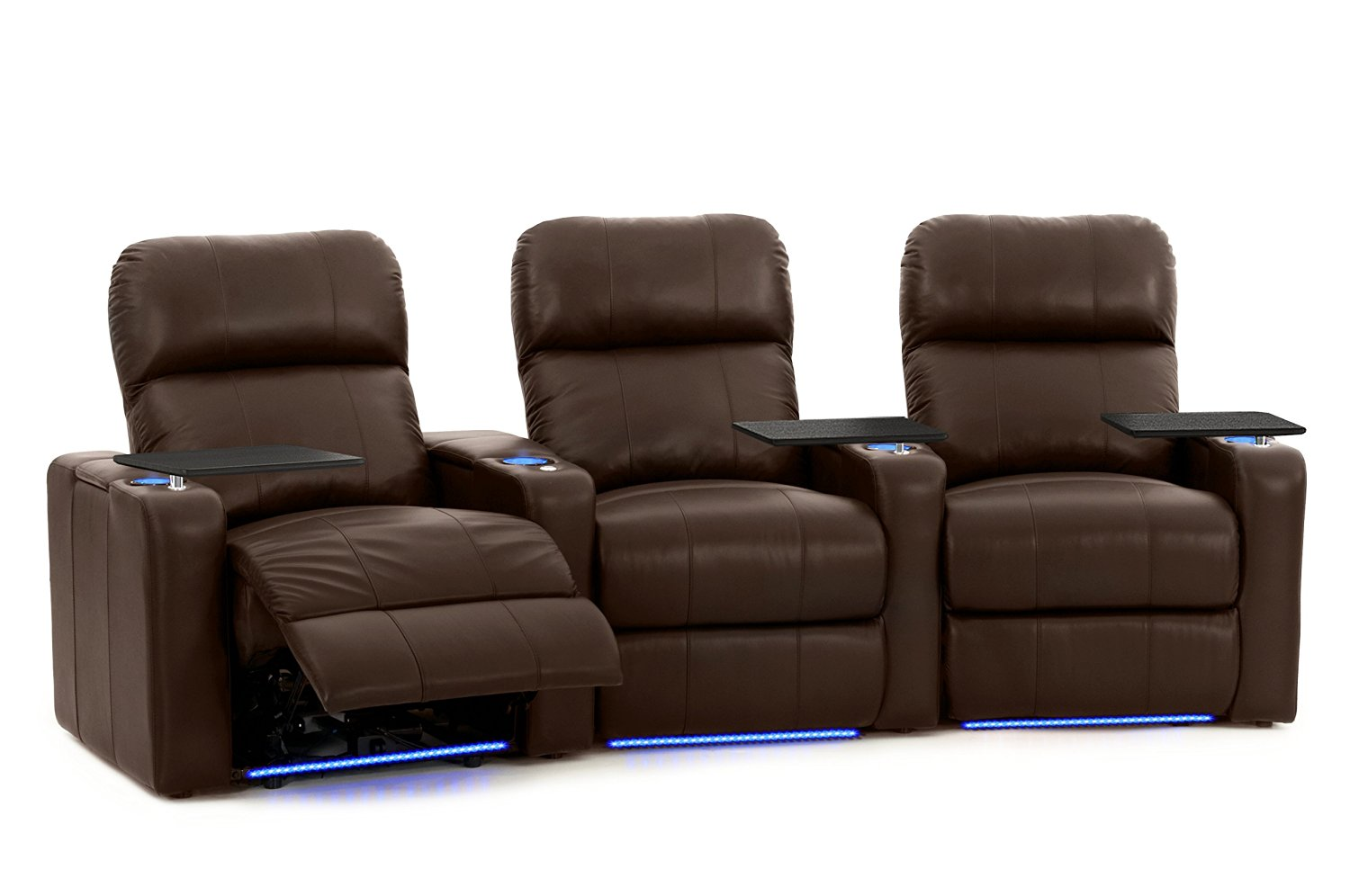 Turbo XL700 Home Theater Seating - Octane Seating - Brown Leather - Power Recline - Lighted Cup Holders & Baserail - Memory Foam
