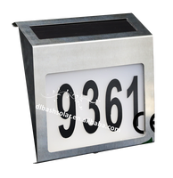 Led Stainless Steel Solar Powered House Door Number Outdoor Wall Plaque Light.