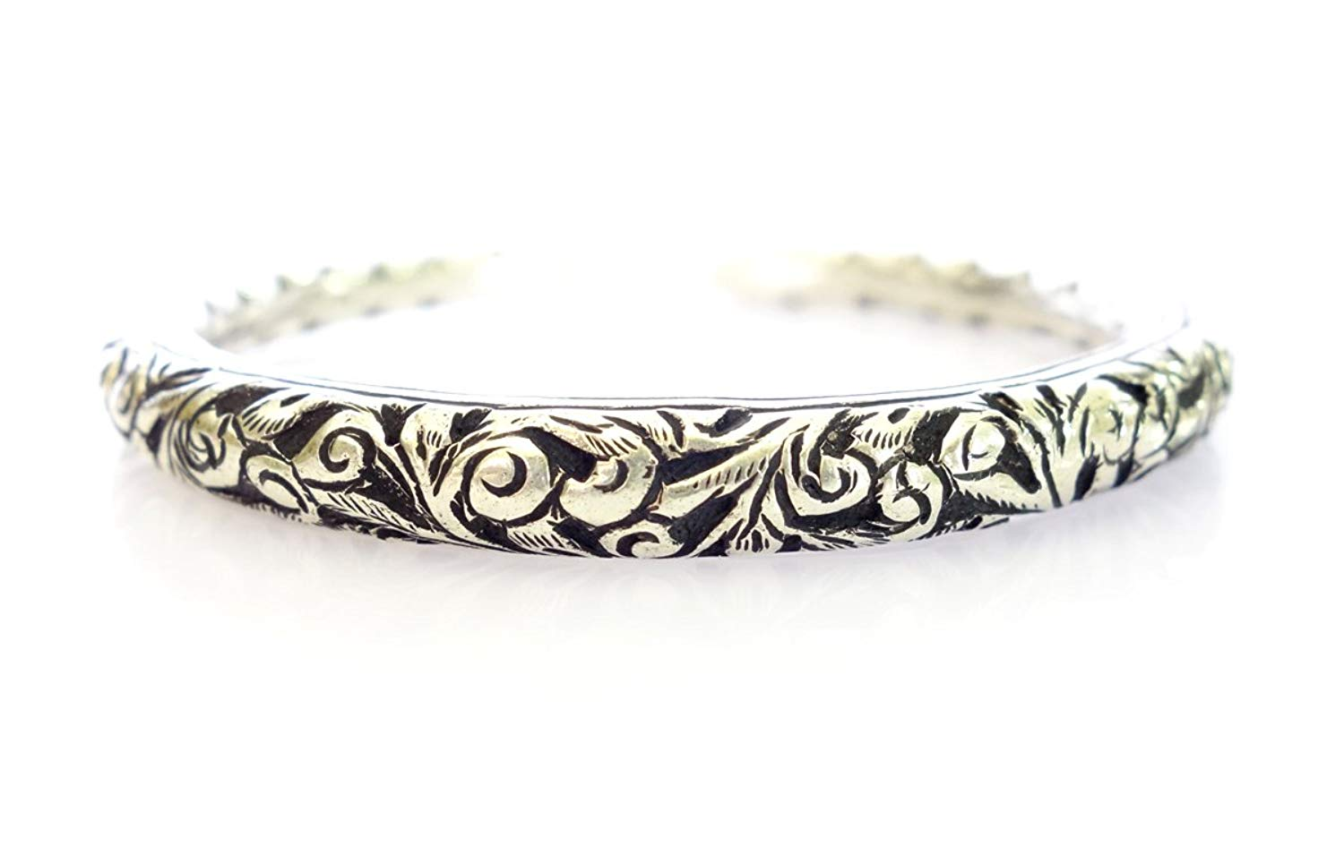 Tibetan Silver FLOWERS & PETALS ENGRAVED 925 OXIDIZED SILVER HALLMARKED ANTIQUE VINTAGE STYLE GYPSY BANGLE BRACELET FOR WOMEN FINE HANDMADE VINTAGE TRIBAL BRACELET