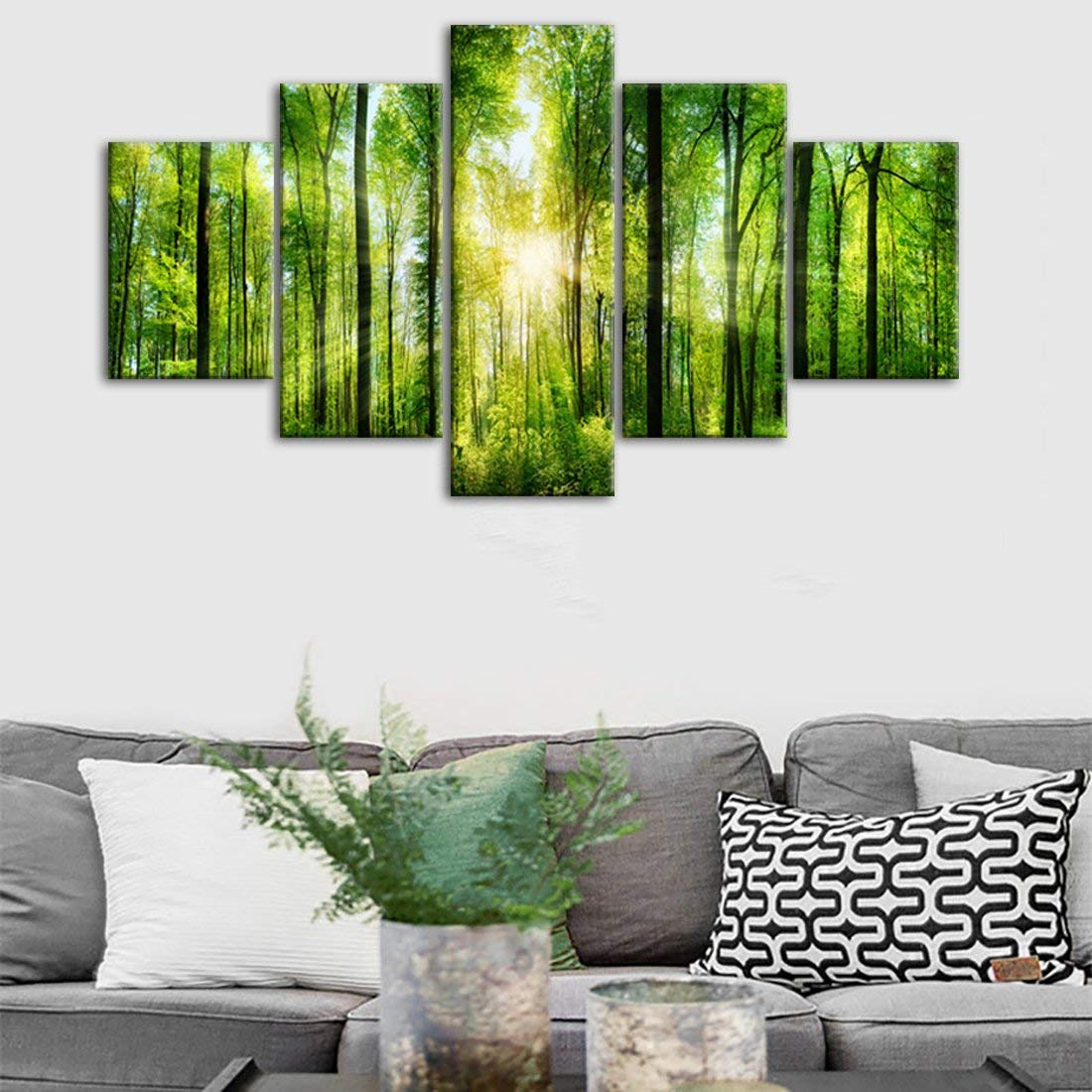5 Panels Morning Sunrise Green Trees Landscape Wall Decor Sunshine Over Forest Photograph Printed on Canvas for Home Wall Decoration(60''W x 32''H)