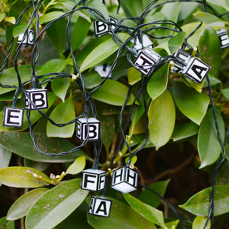 Crystal LED Letters 6M 30LED Outdoor Party Christmas New Year Birthday Decoration Solar Fairy String Light