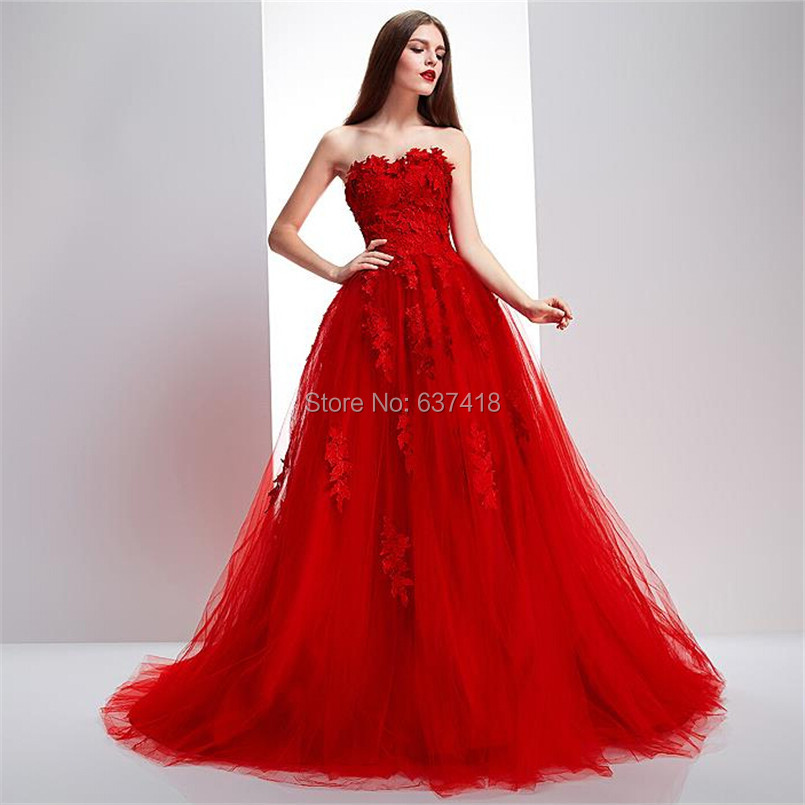 2016 Real Image Ball Gown Puffy Red Prom Dress Evening ...