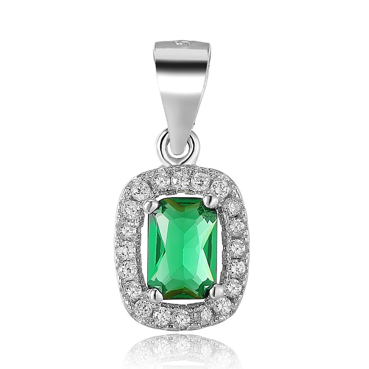 POLIVA Simple Classic Sterling Silver 925 Green Simulated Emerald Cubic Zirconia CZ Micro Pave Rectangle Shape Necklace Pendant