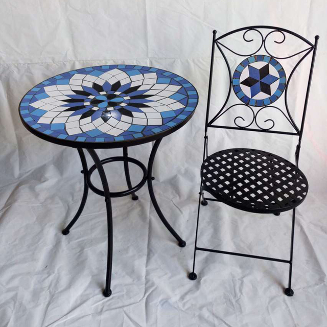 Metal Mosaic Garden Outdoor Furniture Patio Furniture Set 1 Pcs Table +2  Pcs Chairs