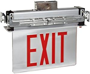 Morris Products 73331 Recessed Mount Edge Lit LED Exit Sign, Red on Clear Panel Color, White Housing (2)