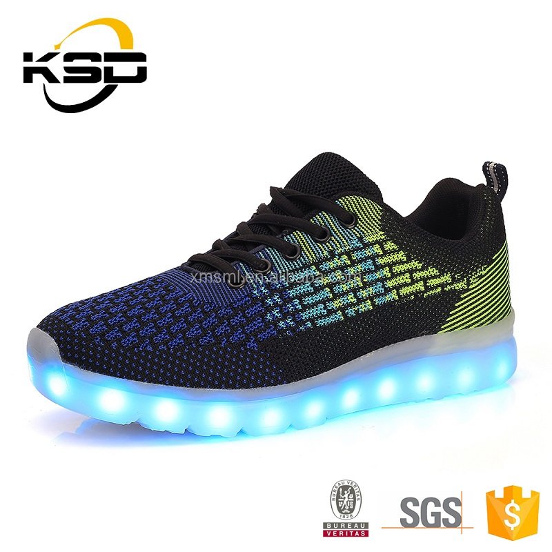 Popular high wedge fancy sneaker With running light up led shoes for women