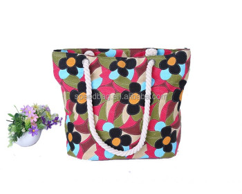 factory supply newest leisure flower printing promotional locking summer beach bag