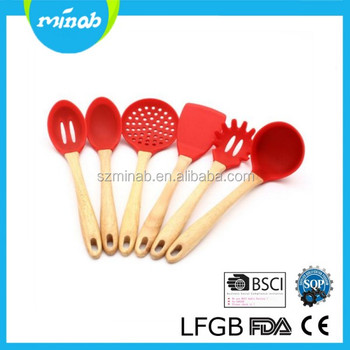 7 Pcs Red Wood Handle High Quality Silicone Kitchen Cooking Utensils Set  With Stand - Buy Kitchen Utensil Set,Wood Handle Cooking Utensils Set,Red  ...