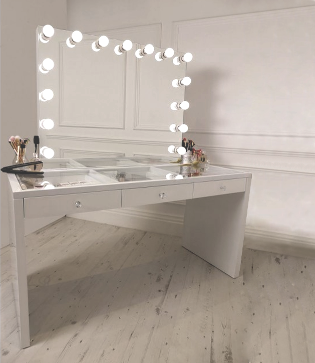 Bedroom Makeup Station Vanity Table With Mirror With ...