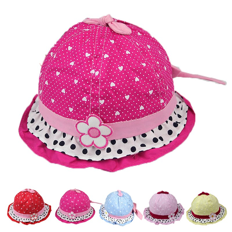 783c0151071 Get Quotations · 3-24 Months New Cute Kid Toddler Baby Girl Bucket Hat Dot  Flower Bowknot Fishing