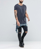 Longline T-Shirt With Shredded Check Hem Extender In Washed Black