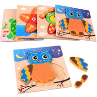 China supplier original colorful children learning educational wooden seven-piece Jigsaw 3d puzzle for children
