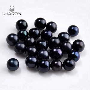 Natural Cultured 6 mm Round Dark Black Loose Freshwater Pearl beads For Jewelry