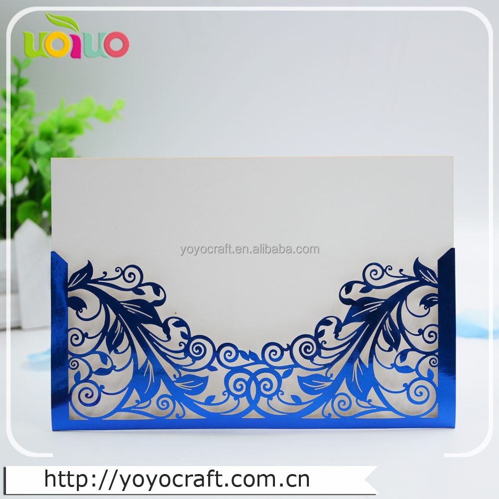 INC14 red feather pearlish pocket banquet invites laser cut wedding card invitation