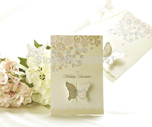 Cheap Butterfly Wedding Invitations: Fairy Tale Butterfly Print Tri Fold Wedding Invitations
