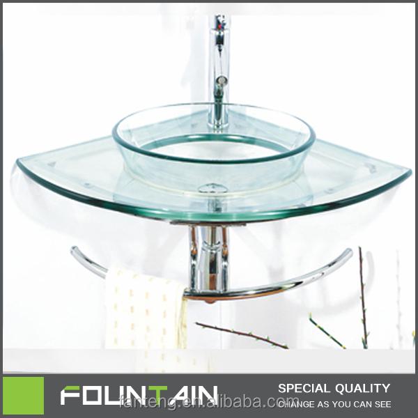Hangzhou Factory Small Size Wash Hand Basin Bathroom Corner Glass