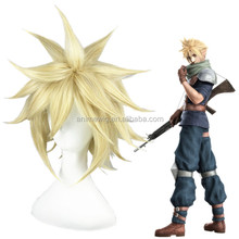 Japanese anime Final Fantasy 7/Cloud Strife short 35cm Light Gold synthetic hair cosplay wig