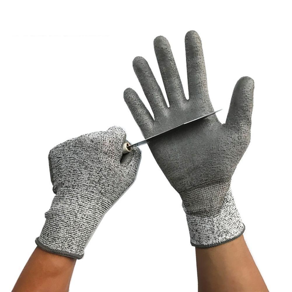 JZDCSCDNS Cut-resistant Gloves Anti-scratch Anti-tearing Wear-resistant Anti-puncture Cut Fish Car Manufacturer Personal Protection Cutting Job Elastic Cuffs PU Coating High-density Aramid Gray