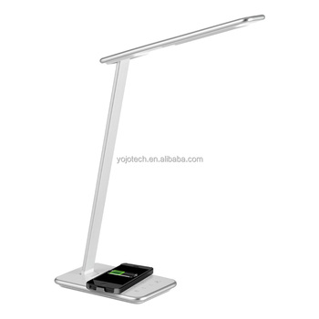 Wireless Charging Led Table Lamp,with Light Sensor U0026 Five Steps Dimming  Brightness