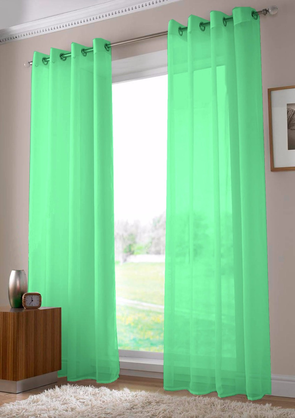 Teal Blur Sheer Curtains Living Room Decorations: Two Panels Green Tube Curtains For Living Room Light