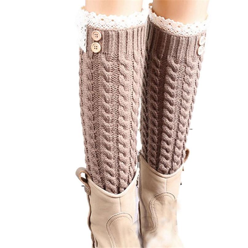 Современный удивительные женщины в зима тёплый мягкий кружево трикотаж гетры загрузки носки манжеты Sep04