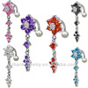 Fashion stainless steel dangle navel ring zircon belly ring BER-015