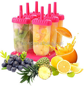 6-piece Repeat Use Plastic Ice Pop Mold Set,Plastic Popsicle Molds Set of 6
