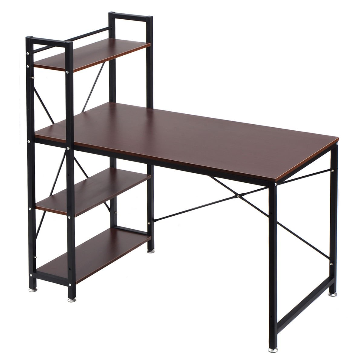 TANGKULA Computer Desk Modern Style Writing Study Table with 4 Tier Bookshelves Home Office Compact Multipurpose Workstation(Brown)