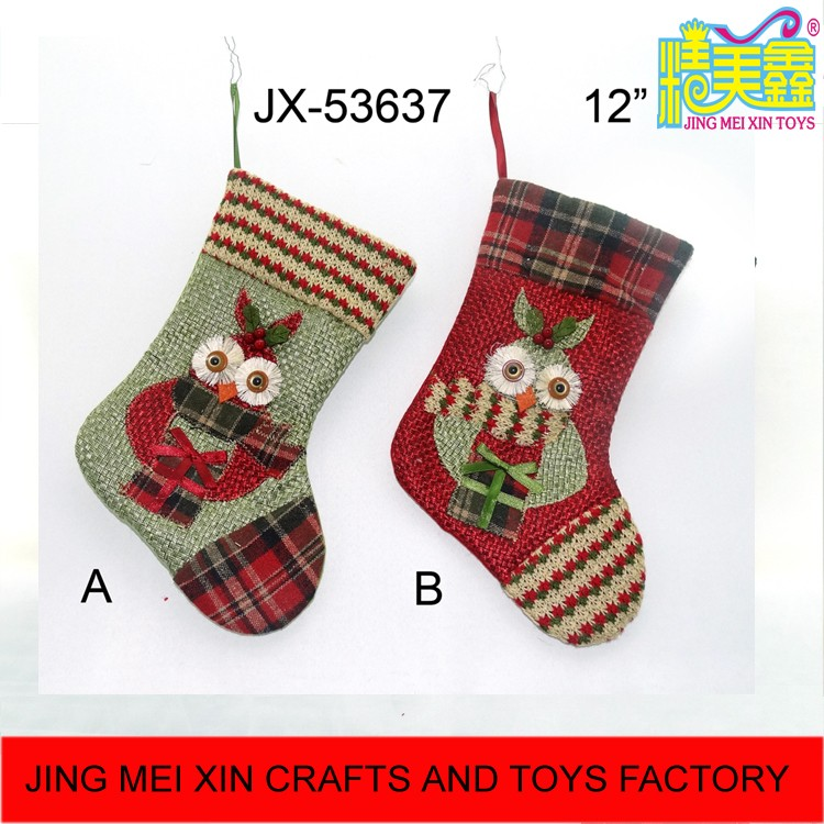 Hot 12'' embroidery colorful christmas owl hanging sock