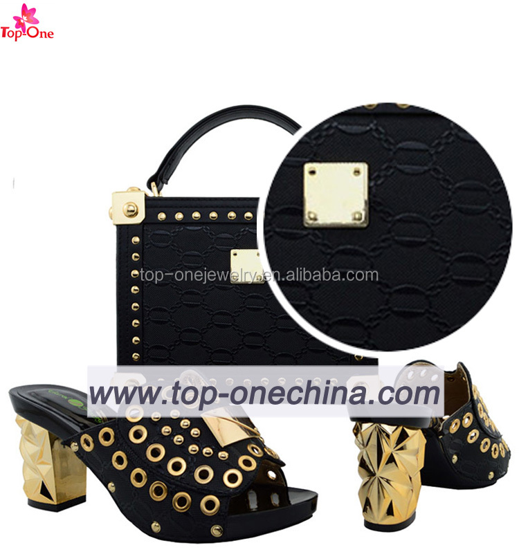 Diamond Wedding Crastal High Heel Shoes and Bags to Match Nigerian Women Italian Shoes and Bags Matching Set