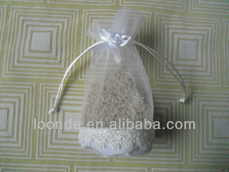 NEW STYLE round bottom organza bags with lace trim