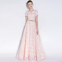 Женское вечернее платье без рукавов Ladybeauty, элегантное кружевное платье с маленькими цветами, Длинные вечерние платья для выпускного вечера(Китай)