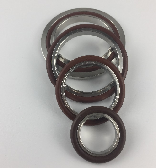 KF stainless vacuum center ring with viton o-ring and outer ring  kf10 kf16 kf25 kf40 kf50