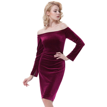 1c78bb312d0e Kate Kasin Women s Long Sleeve Off Shoulder Hips-Wrapped Wine Velvet  Bodycon Pencil Dress KK000500