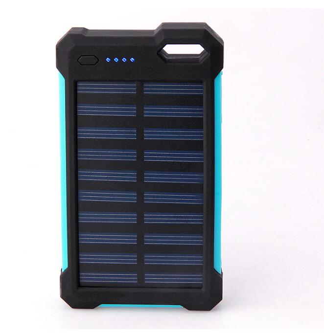 OEM Solar battery bank 10000mAh external battery With LED Lamp Silicone Edge power