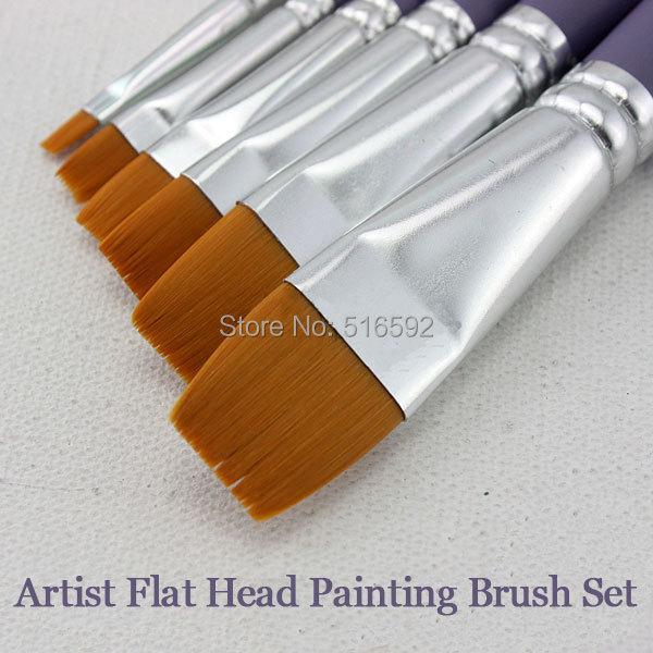 Transon 810 fine nylon hair flat head artist painting brush set wooden handle brushes for art