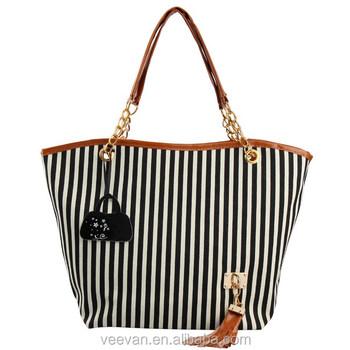 Black Stripe Canvas Beach Tote Bag Wholesale,Cute Beach Tote Bag ...