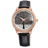 Brand Luxury Women Dress Watch Multicolor Leather Strap Lady Rose Gold Watch with Bling Diamonds