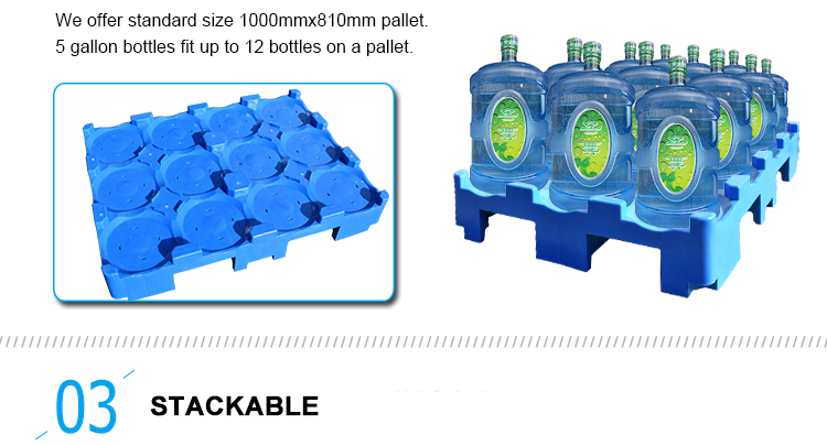 Impilabile 1000mm x 810mm pallet in plastica per 5 gallon