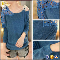 High quality New Fashion Women's Vintage Long Sleeve Casual Tops Lace Shirt Blouse OEM supplier China