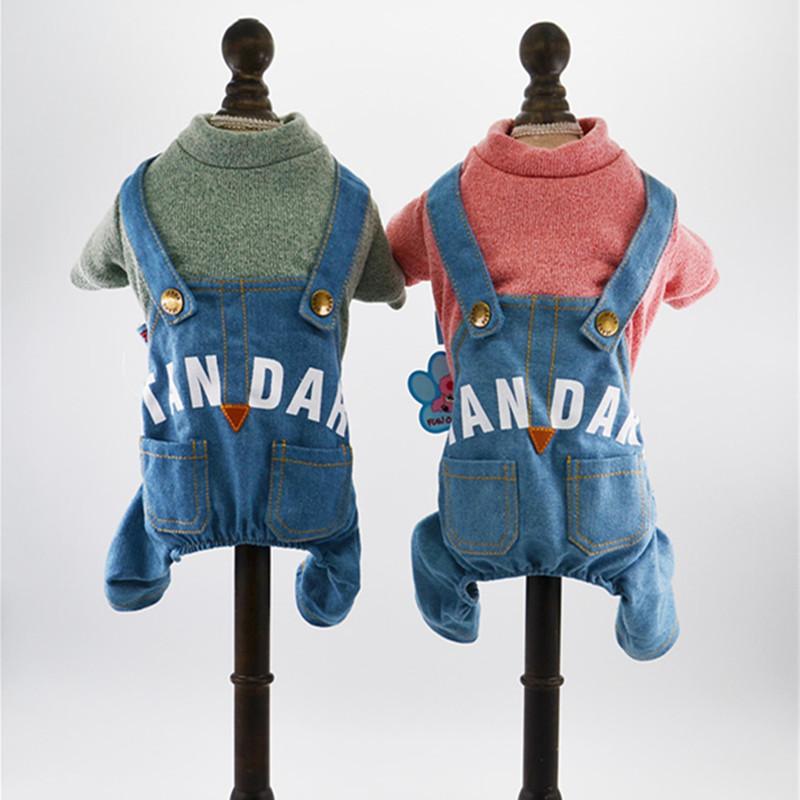 Новые печатные письмо собака одежда для осени и зимы теплые комбинезоны джинсы общая костюм одежда для животных