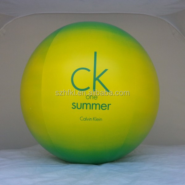 promotional inflatable softball beach ball with customized logo printed