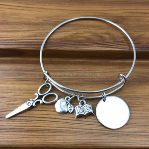 Personalized Monogrammable Disc Apple Book Scissor Charms Wire Teacher Gift Bracelet