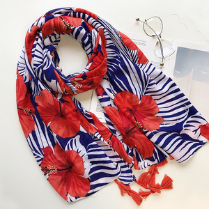 Navy And Red Cotton Printed Women Tassel Big Leaves Floral Scarves