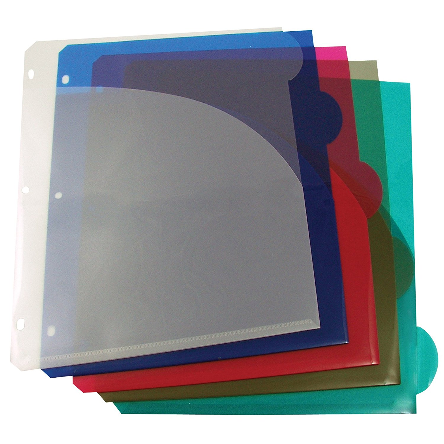 C-Line Biodegradable Colored Tab Poly Index Dividers with Slant Pockets, Letter Size, Fits 3-Ring Binders, Multi-Color, One 5-Tab Set (05460)