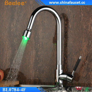 Beelee Modern Brass Pull Out LED Kitchen Faucet with LED Light
