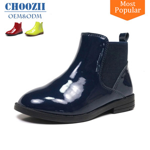 Choozii Fashionable Winter Navy Blue Patent Leather Kids Boots Shoes