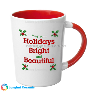 15oz Custom Printed Red Ceramic Merry